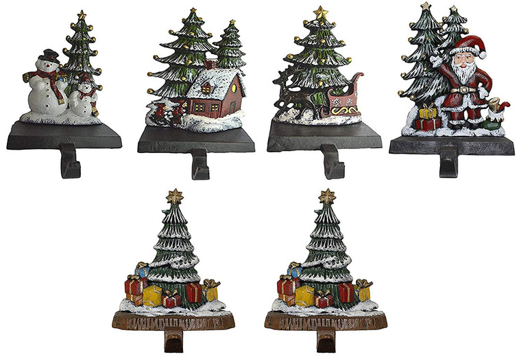 100% Cast Iron Combo Deal of 6 Christmas Stocking Holders, Christmas Trees with Snowman, House, Santa and Sleigh and 3 Tree with Gifts, Each Weighs 3 lb (CHTG2)
