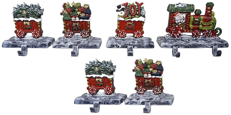 100% Cast Iron Christmas Stocking Holders, 2D Train Engine with 5 Rail carts, 7 Stocking Hooks, Beautiful & Strong Sturdy Heavy Hooks, Each Weighs Approx 3 lb (Combo Train 2D)