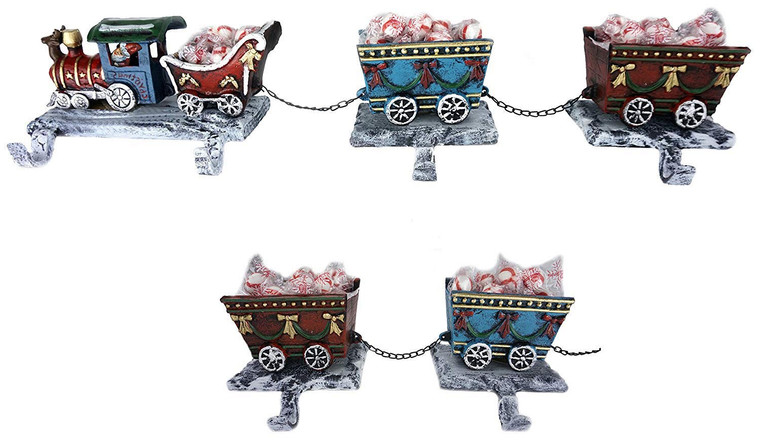 100% Cast Iron Christmas Stocking Holder, Engine with Santa sleigh and 4 rail carts, 6 stocking hooks, unique 3D train design to hold candies, cute gift boxes (Combo Train 3D)