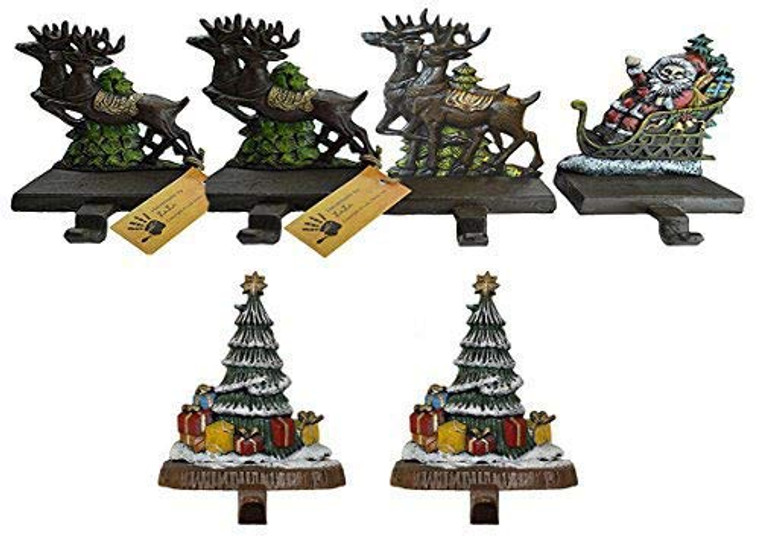 "100% Cast Iron Santa Claus & 3 Reindeers Decorative Christmas Stocking Holders Plus 2 Trees 8"", 6 Strong Hooks, Each Weighs Approx 3 lb, Beautiful Solid Appearance (Combo Deal)"