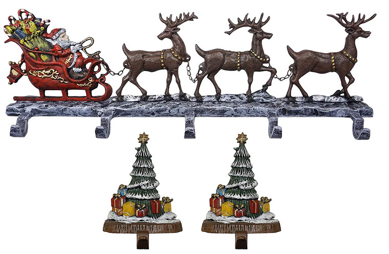 100% cast iron decorative Christmas Stocking Holders, Deer with 5 hooks and 2 Trees solid hooks, beautiful design