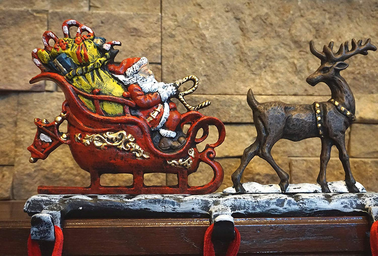 """Cast Iron Christmas Stocking Holder with 5 Hooks, (Weight 10 lbs) Unique Design of Santa on Decorated Sleigh with 3 Deer, 28"""" Long, Perfect (5 Hooks)"""