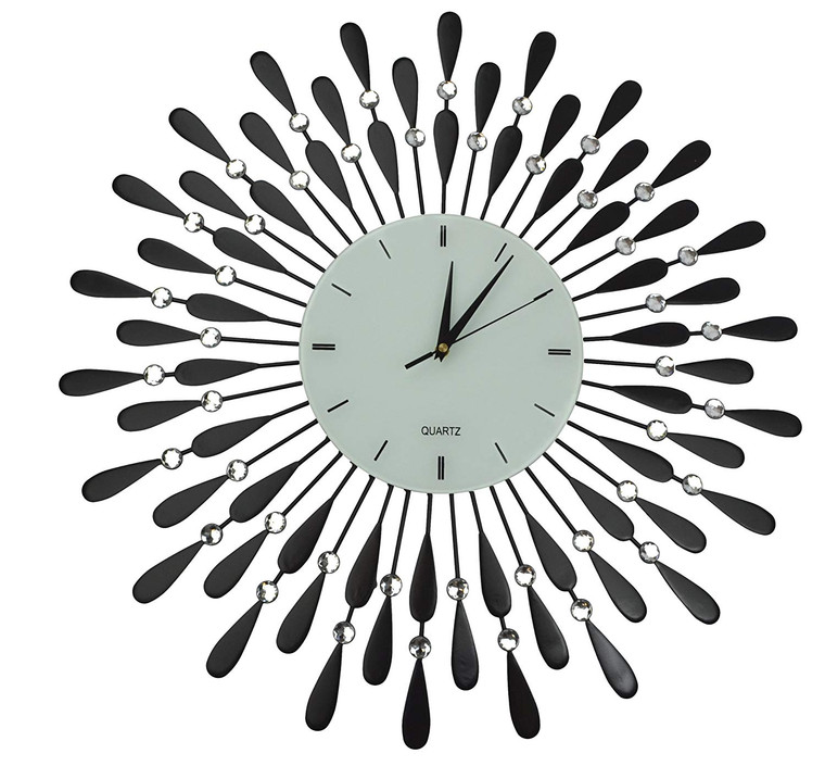 "24"" Black Drop Metal Wall Clock with 9"" White Glass Lines Dial"