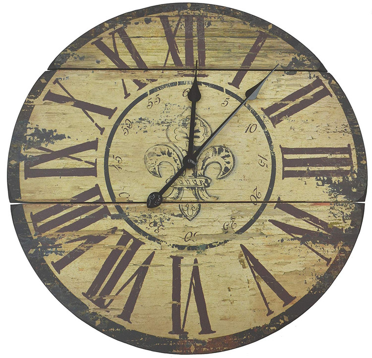 "Rustic Round Fleur De Lis Wood Wall Clock 23.5"" with Roman Numerals"