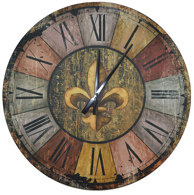"""Vintage French Country Style Rustic Round Wood Wall Clock 23.50"""", Large Roman Numerals"""