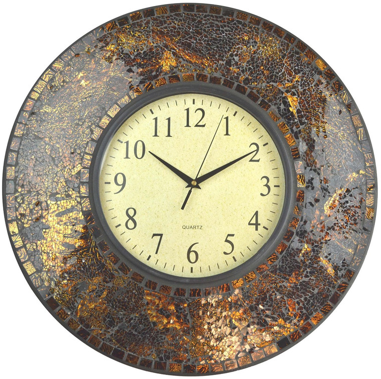 "19"" Amber Crush Mosaic Wall Clock, Arabic Number Dial 9.5"""