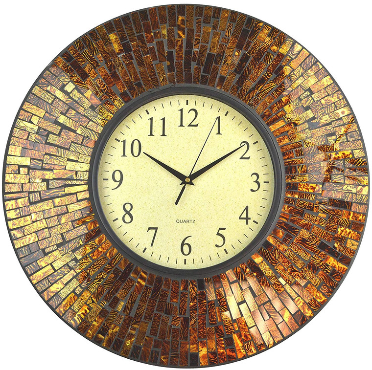 "19"" Baltic Amber Mosaic Wall Clock with 9.5"" Brown Arabic Glass Dial"