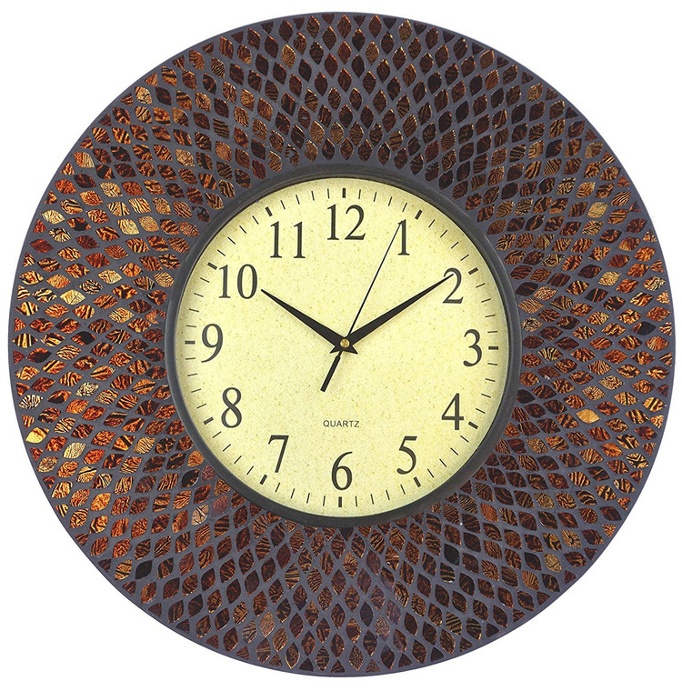 """19"""" Amber Comb Mosaic Wall Clock with Black Cement, Arabic Number Glass Dial 9.5"""""""