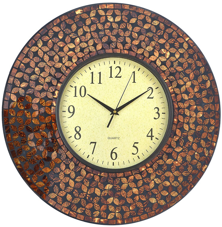 "19"" Amber Flower Mosaic Wall Clock with Black Cement, Arabic Number Glass Dial 9.5"""