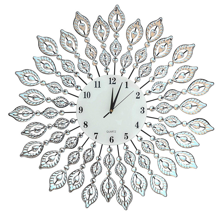 "25"" Crystal Leaf Metal Wall Clock, 9"" White Glass Dial with Arabic Numerals"