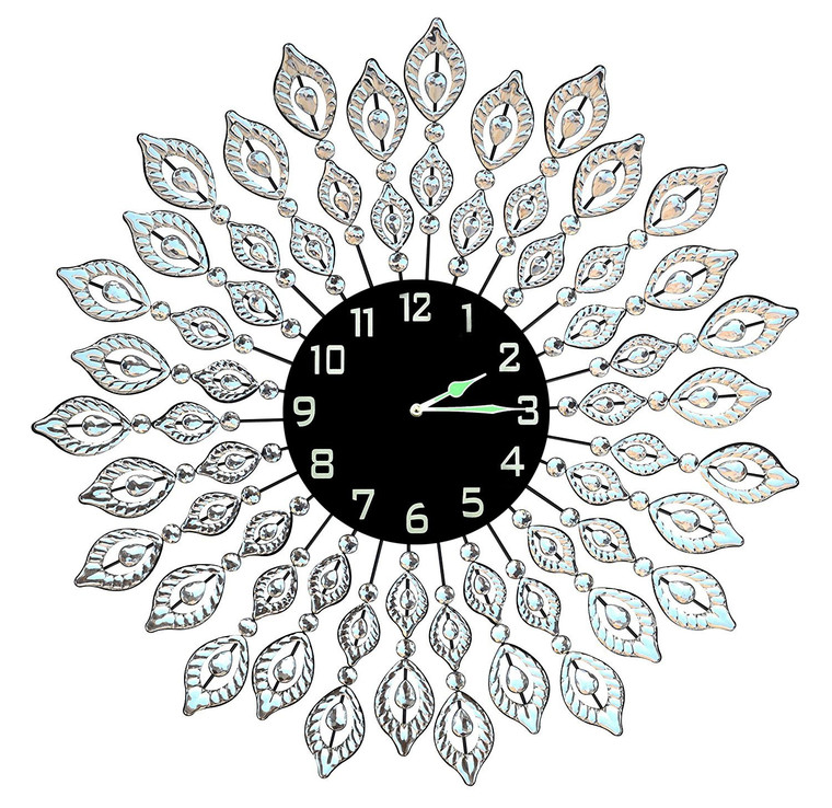 "25"" Decorative Leaf Metal Wall Clock with Black Glass Arabic Number Dial 9"""