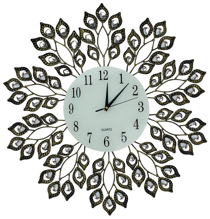 """25"""" Antique Metal Wall Clock, 9"""" White Glass Dial with Arabic Numbers"""