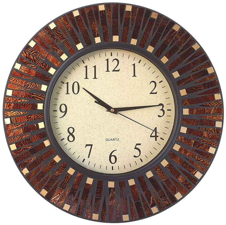 """16"""" Amber Dot Mosaic Wall Clock with 9.5"""" Glass Dial"""