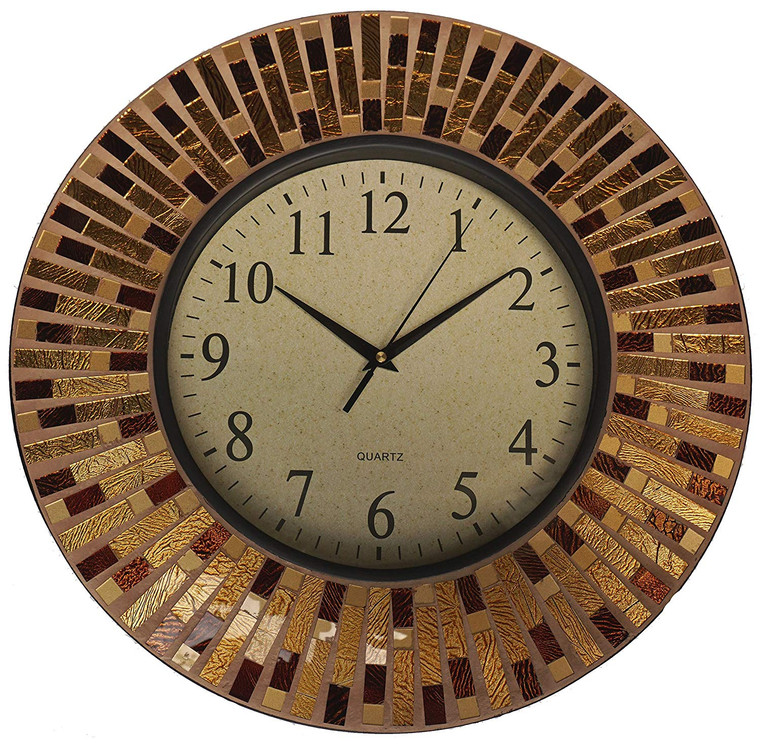 "16"" Amber Rays Mosaic Wall Clock with 9.5"" Glass Dial"