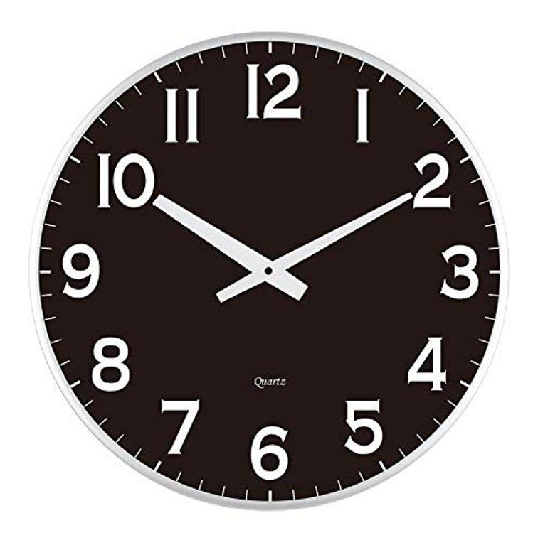 "18"" Slim Large Black Wall Clock, Modern Sleek Design only 0.75 inches Thick"