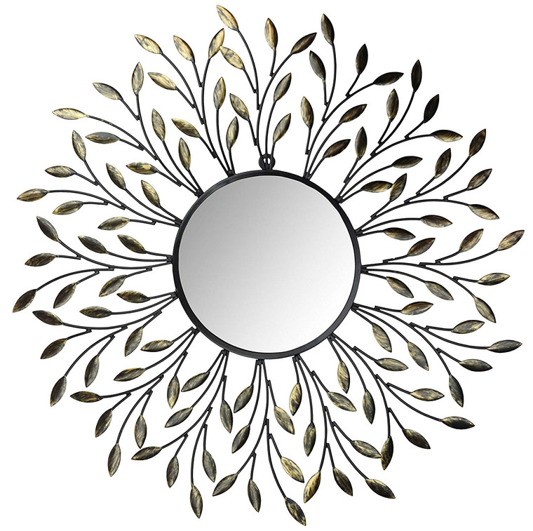 "25"" Decorative Metal Vine Wall Mirror, Round Beveled Mirror 9"""