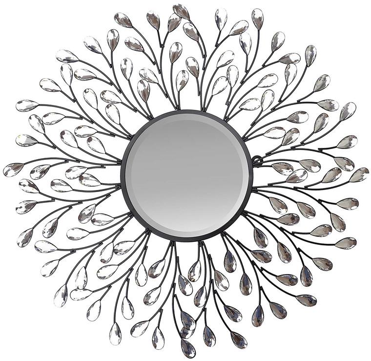 "24"" Decorative Crystal Metal Vine Wall Mirror, Beveled Mirror 11"""