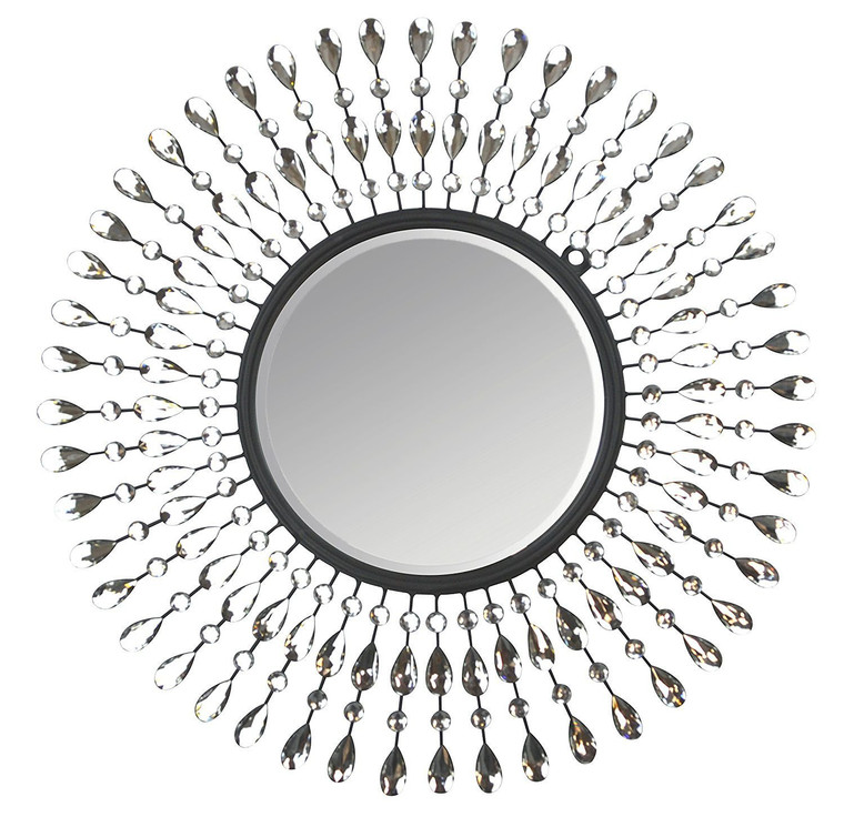 "25"" Pearl Drop Metal Wall Mirror, Round Bevel Mirror 11.5"""