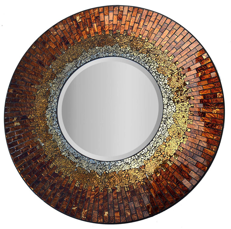 "Decorative Handmade Baltic Amber Mosaic Wall Mirror, Diameter 23.5"", Mirror 11.5"""