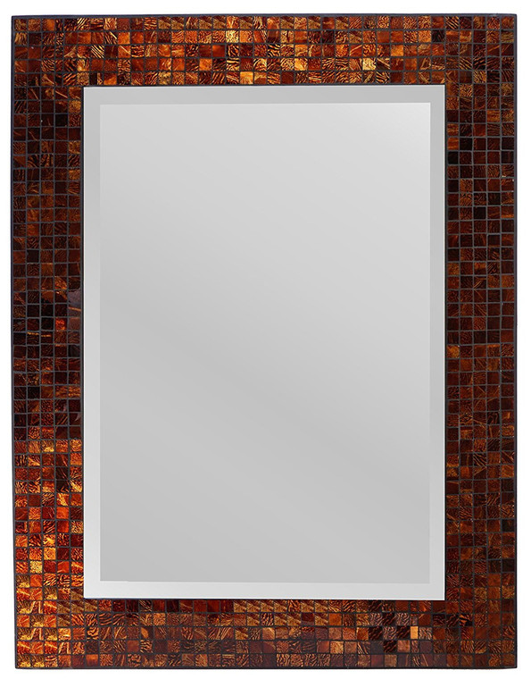 "Decorative Handmade Amber Rectangle Mosaic Beveled Wall Mirror, Frame Measures 31"" x 23.5"", Beveled Mirror Measures 24"" x 15.5"""