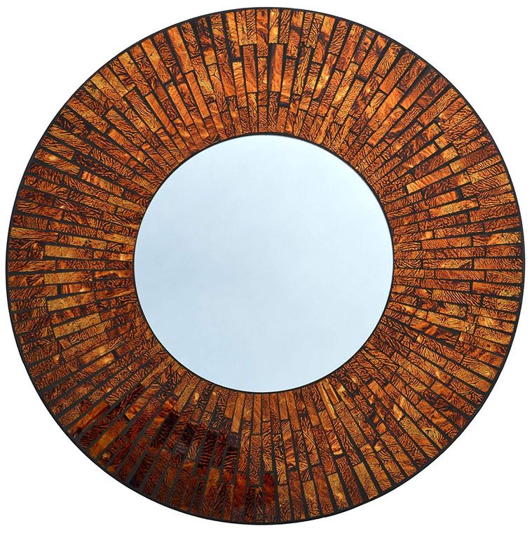 "Baltic Amber Round Mosaic Wall Mirror, Diameter 23.5"", Mirror 11.5"""