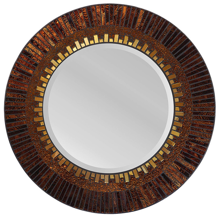 "23.50"" Amber Sunshine Decorative Handmade Wall Mirror, Beveled Mirror 14.5"""