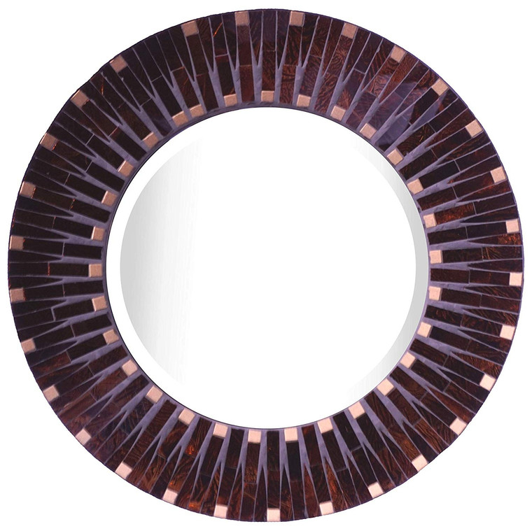 "Amber Dot Mosaic Wall Mirror, Frame Measures 16"", Beveled Mirror Measures 9.5"""