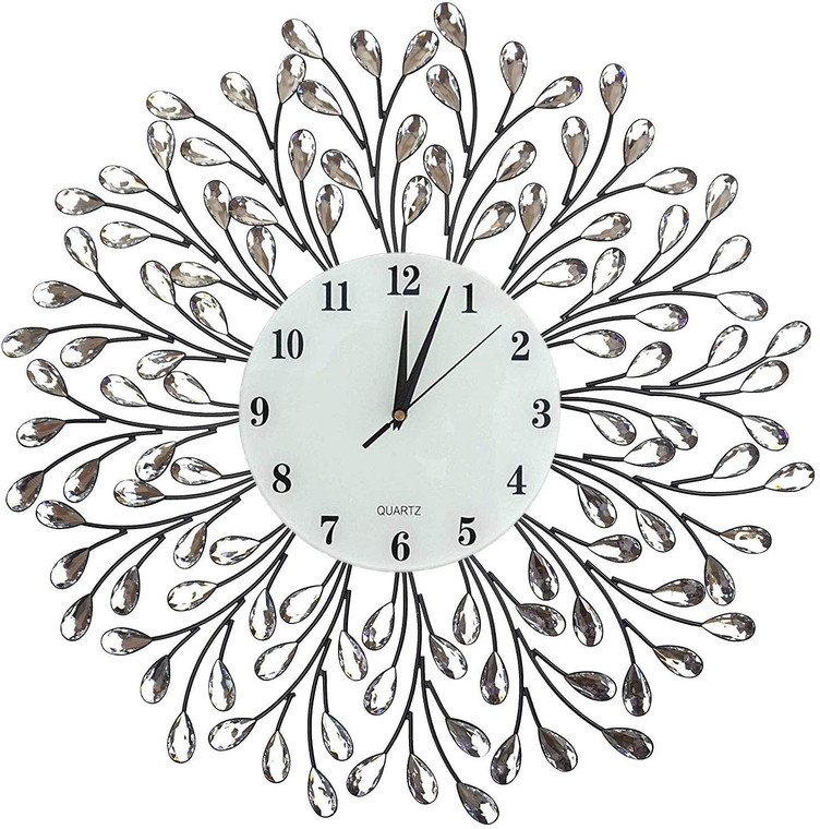 "25"" Vine Decorative Metal Wall Clock, 9.5"" White Glass Numbers Dial"