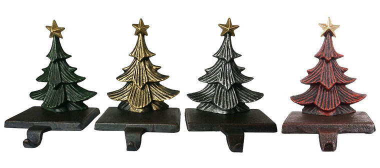 Cast Iron Christmas Tree Stocking Holders, Sold in Set of 4 Trees in Metallic Red, Gold and Silver Finish, Beautiful, Heavy, Sturdy Stocking Hooks