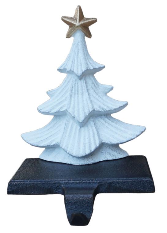 Cast Iron Metallic White with Gold Star Christmas Tree Stocking Holder, Heavy, Sturdy Stocking Hooks
