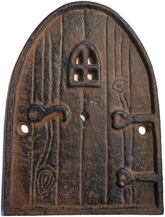"""100% Cast Iron Rustic Brown Miniature Fairy Door 5"""", Garden Ornament Ideal for Bottom of Trees (5 Inch - Round Top)"""