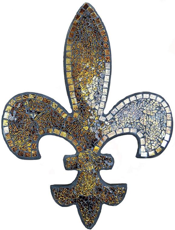 "Amber Mosaic Fleur De Lis Decor, Wall Decorative Plaque, Perfect for Housewarming Gift (Large 23.5"")"