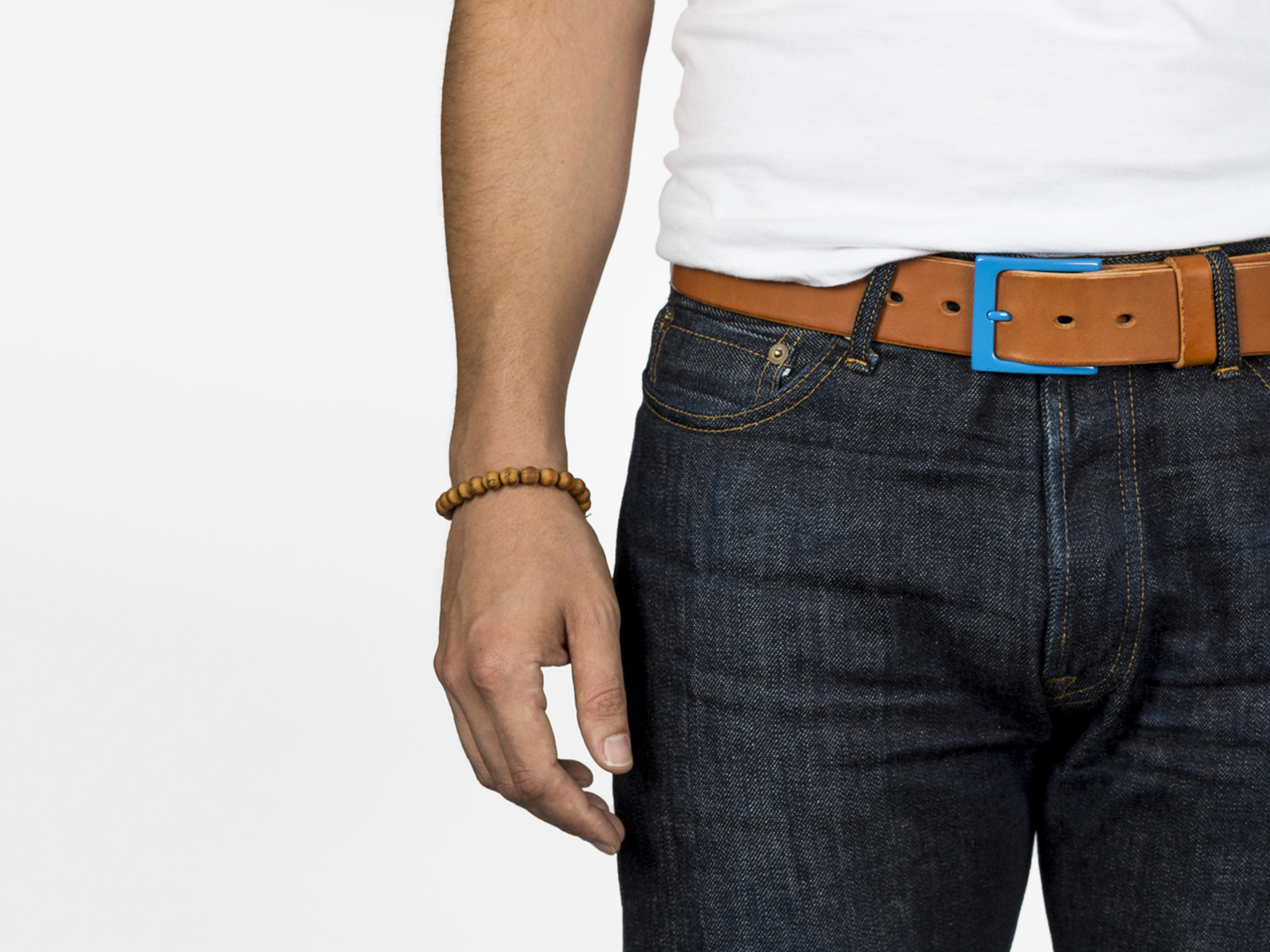 Fruit Punch Leather Belt - Surf Blue