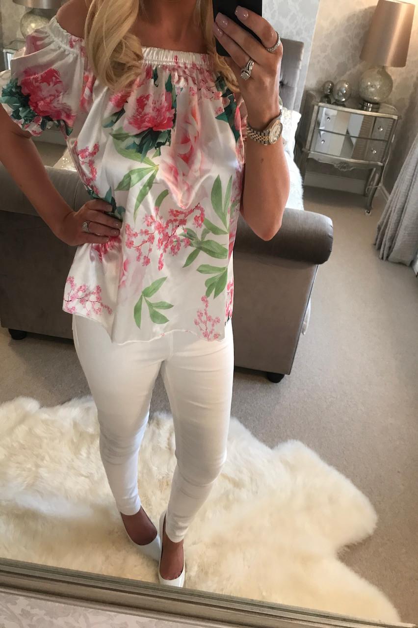 0e92f4fe9f5cc Rosin Satin White Floral Bardot Top - Want That Trend