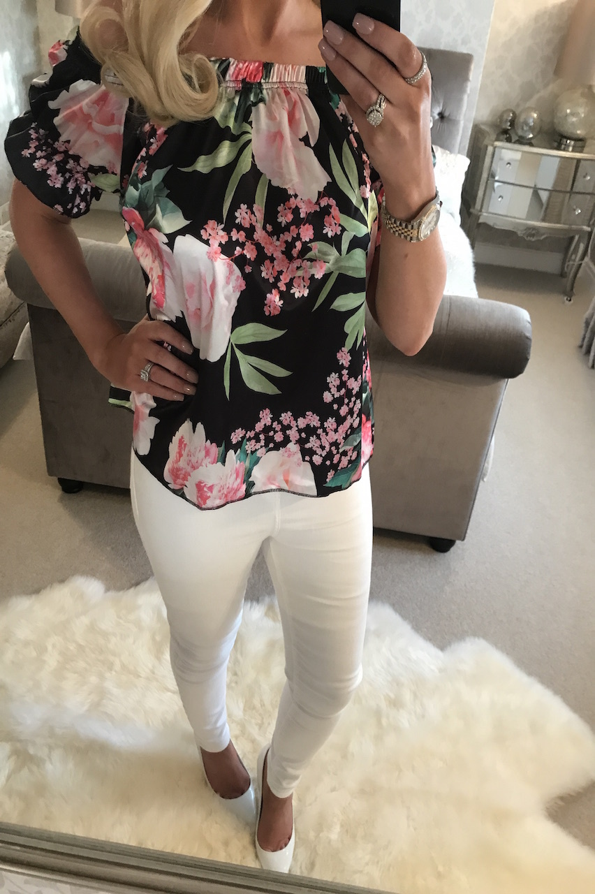 5309a9d489fa3 Ciara Satin Black Floral Bardot Top - Want That Trend