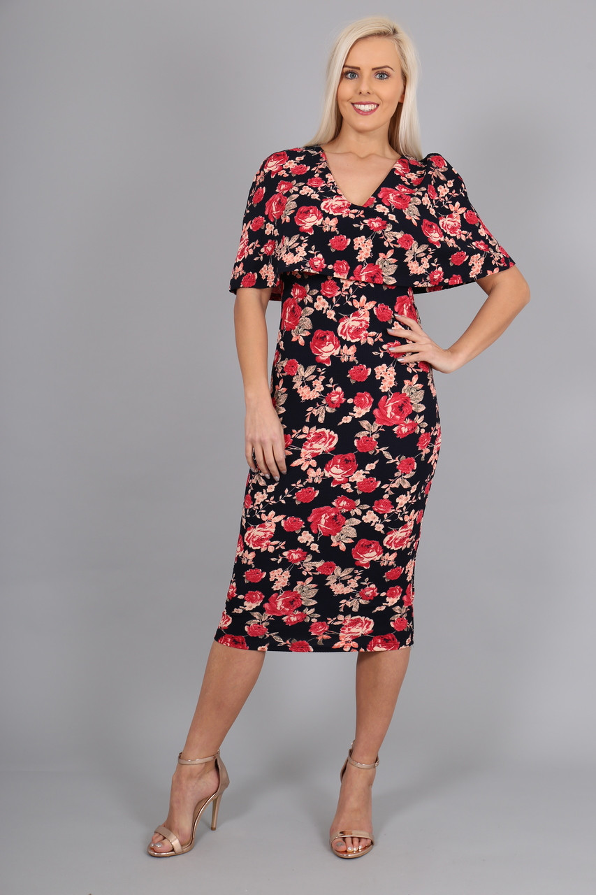 9b323d33 Evoke Floral Fiona Overlay Bodycon Dress - Want That Trend