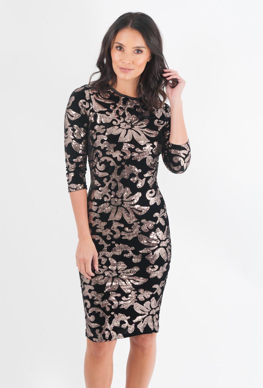 675eb0b1988c Fresno Black   Gold Sequin Velvet Midi Dress - Want That Trend