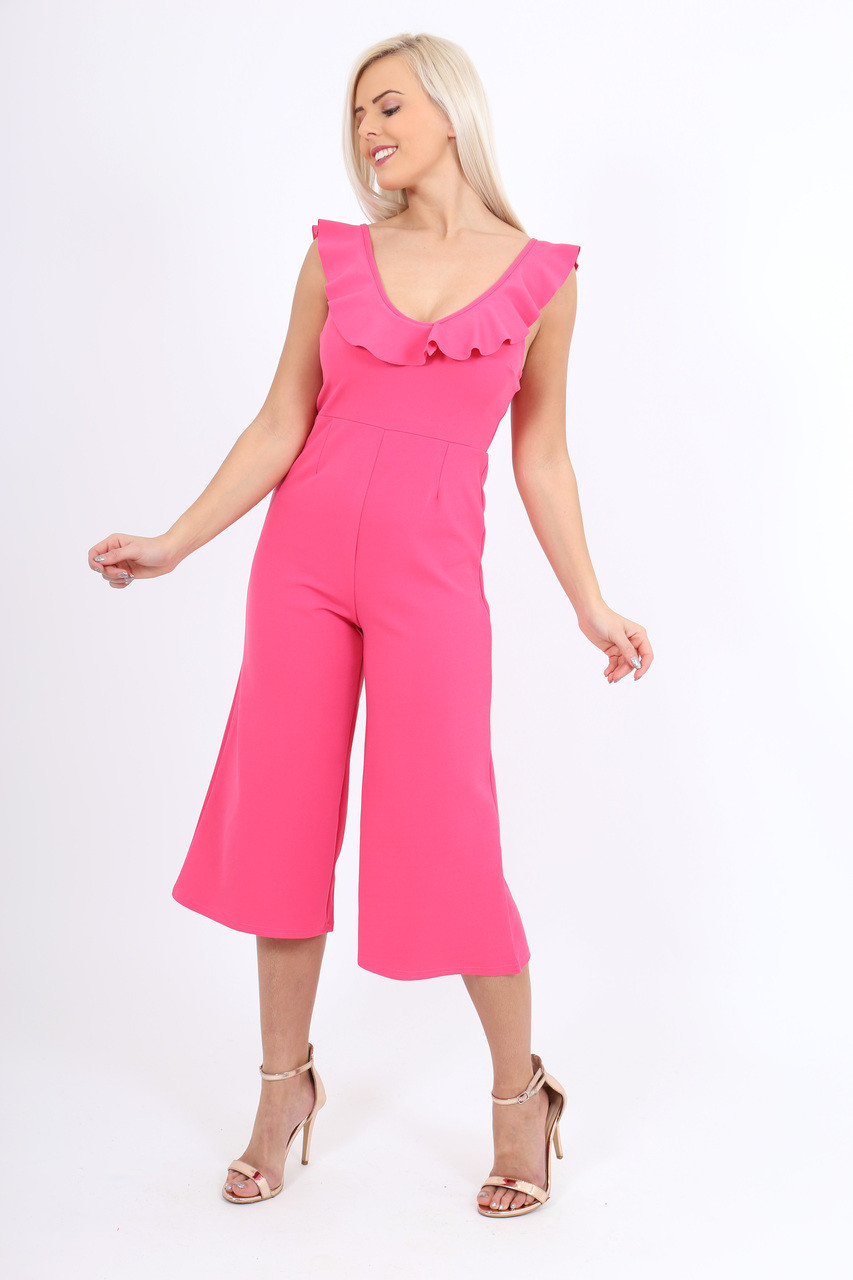 4f513a808f46 Pink Crepe Frill Culotte Jumpsuit - Want That Trend