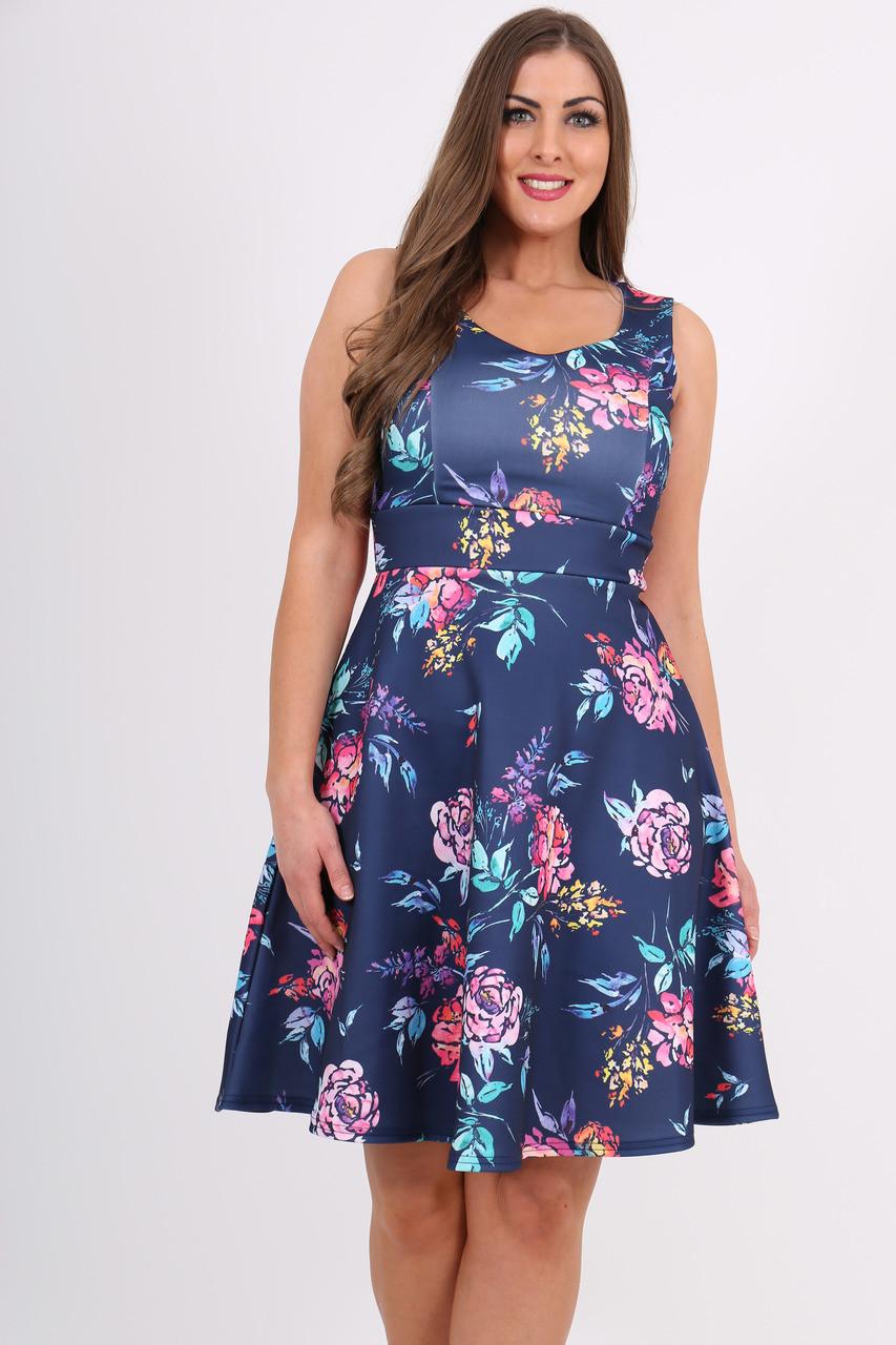 7d55b2e67d Cypress Navy Floral Skater Dress - Want That Trend