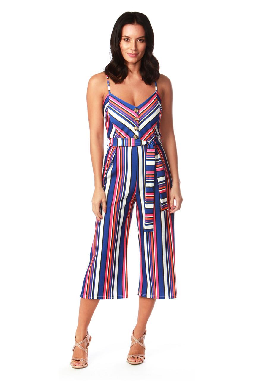 0386049b23e Dolores Blue Stripe Button Culotte Jumpsuit - Want That Trend