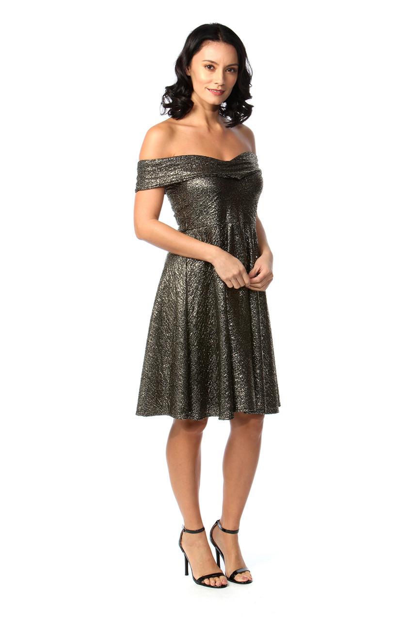 1ed50b6063 Gold Shimmer Bardot Skater Dress - Want That Trend