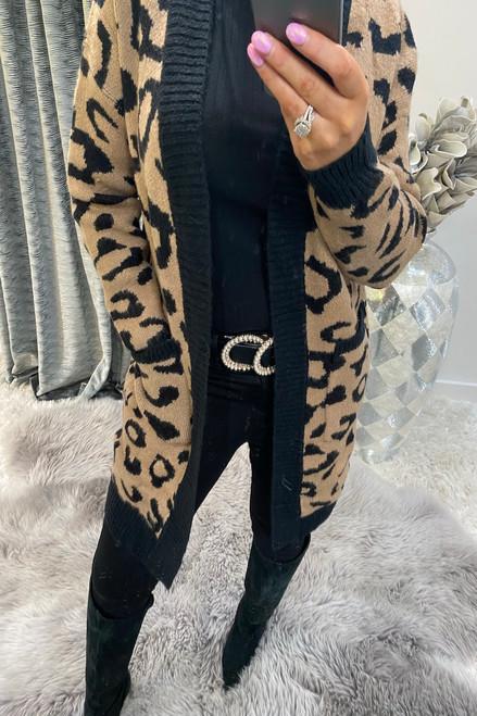 Loving Leopard Beige Knitted Cardigan