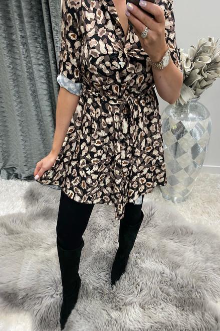 Brown Leopard Print  Shirt Dress
