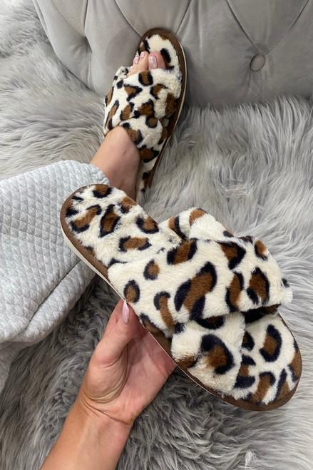 Cream Leopard Strap Fluffy  Slippers