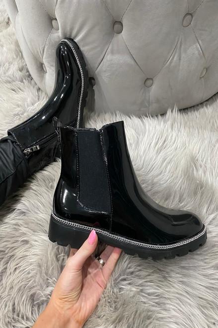 Klara Black Patent Chelsea Boots with chain