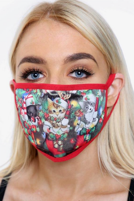 Red Cat Christmas Face Mask (one size)