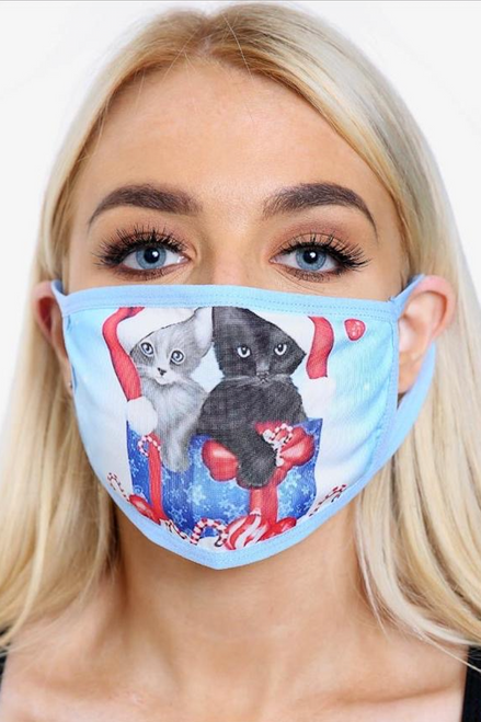 Blue Cat Christmas Face Mask (one size)