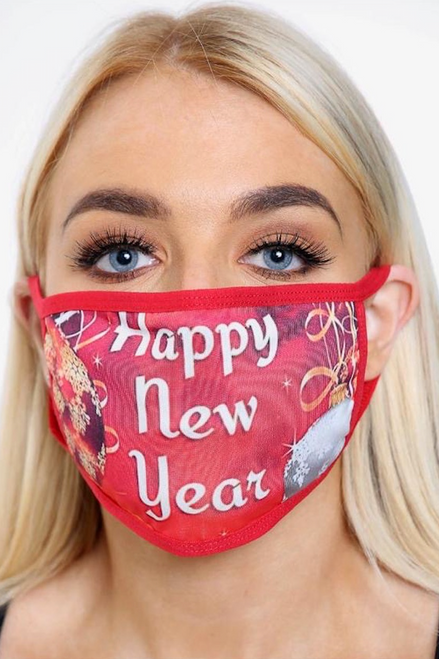 Red Happy new Year Face Mask (one size)