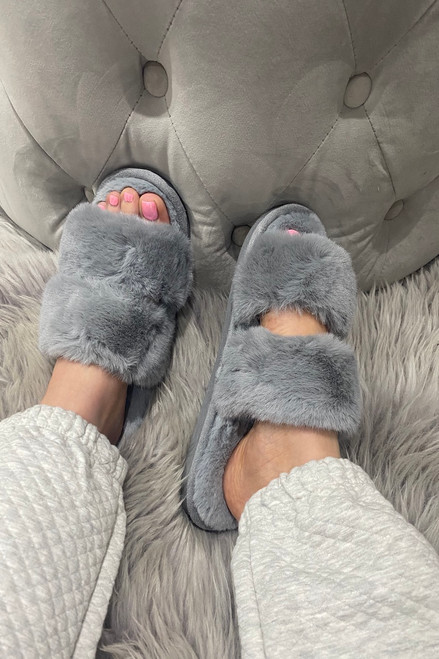 Comfy Grey Fluffy Slippers