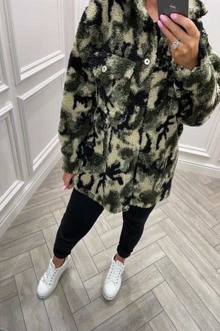 Khaki Camo Teddy Coat